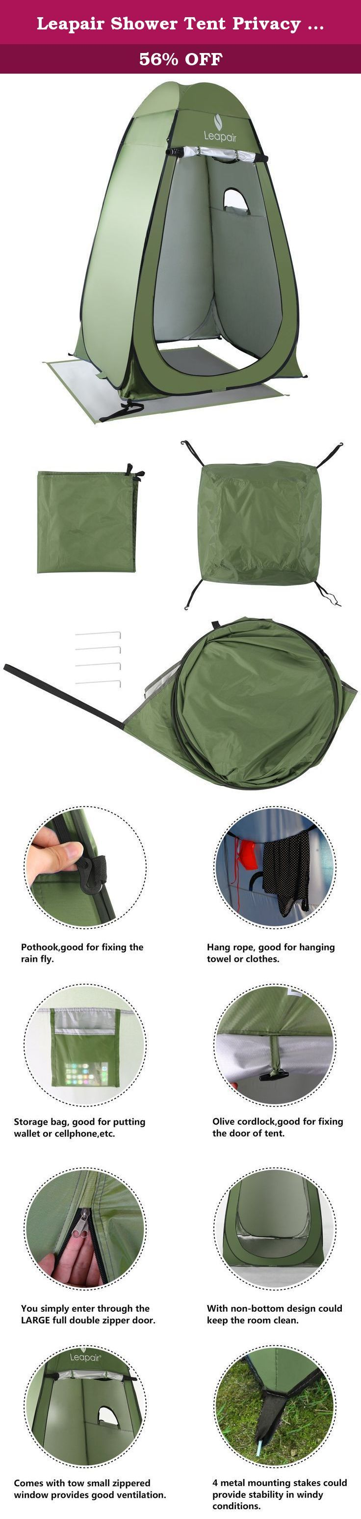 Leapair Shower Tent Privacy Portable Camping Beach Toilet Pop Up Tents Changing Dressing Room Outdoor Backpack Shelter Green. Shelter is seconds away with the Leapair Instant Pop-Up Privacy Tent. Easy to set up, this collapsible lightweight tent/cabana shelter opens in seconds giving you a private place to change clothes, take a shower, use the restroom, and more at the beach or at camp. Made with high-quality, waterproof taffeta 191-D nylon polyester and flexible steel for durability…