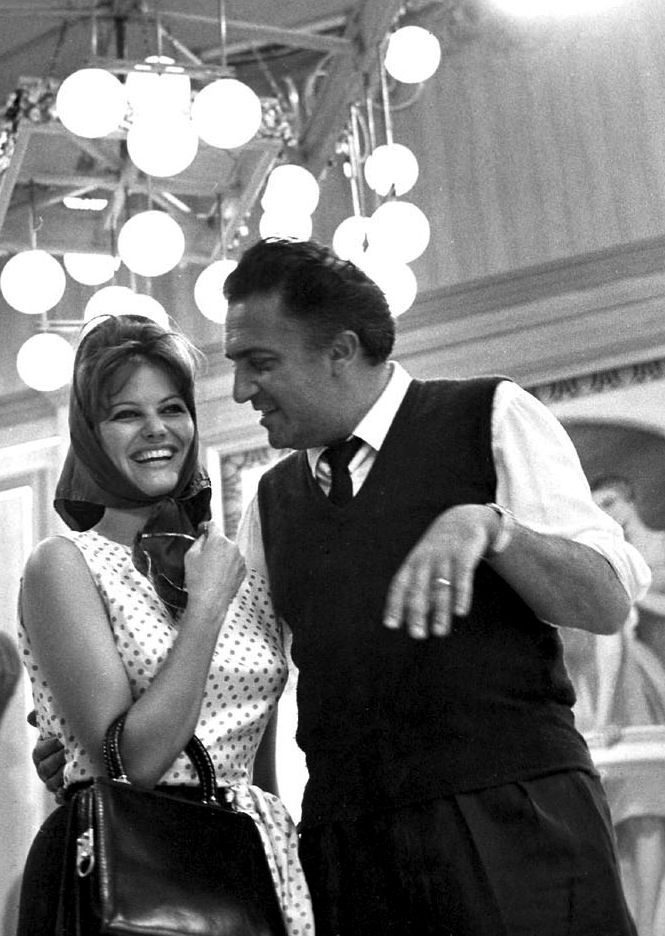 Claudia Cardinale & Federico Fellini on the set of 8 1/2 - 1963
