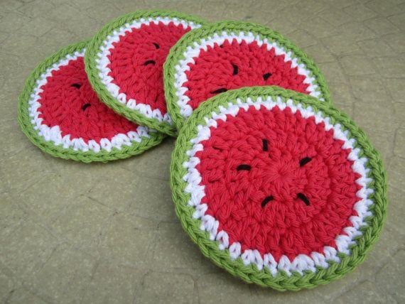 Posavasos posavasos de sandía juego de 4 algodón por CROriginals
