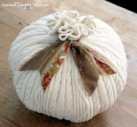 101 Things You Can Make With An Old Sweater! {OK…More Like 27 Things}  Sweater Pumpkin