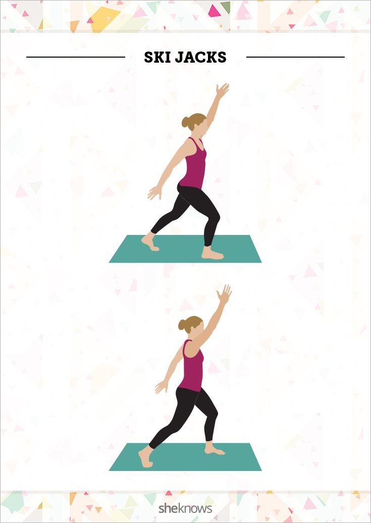 Ski Jacks. Imagine cross-country skiing as you perform the ski jacks, but this time, your arms and legs swing forward and backward rather than laterally.