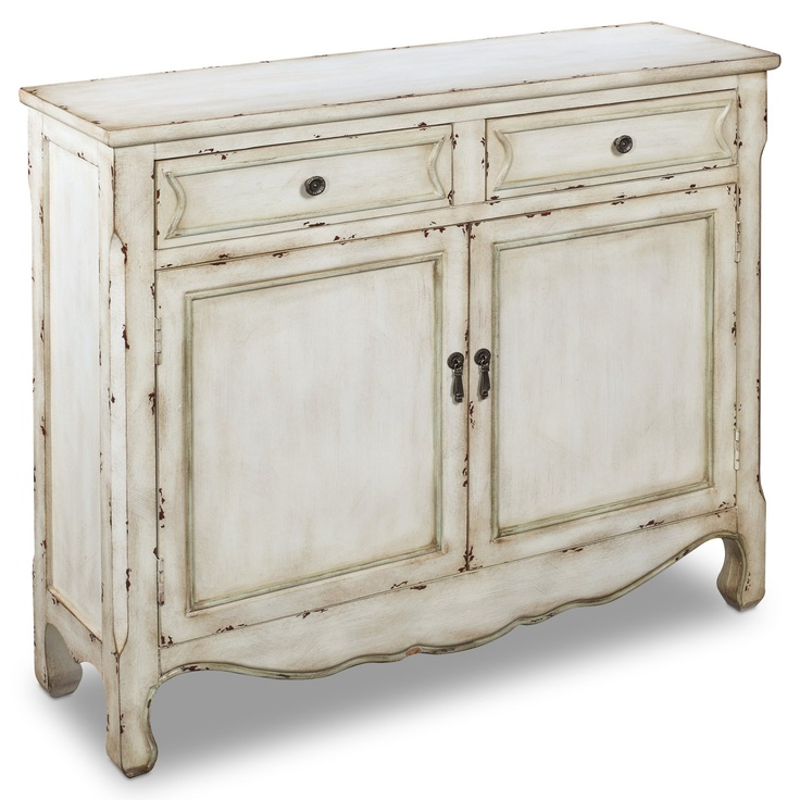 40 in. Clarkson Console Cupboard: Doors, Distressed Wood, Wood Cabinets, Dining Rooms, Living Rooms, Cupboards, Weather White, Drawers, Furniture