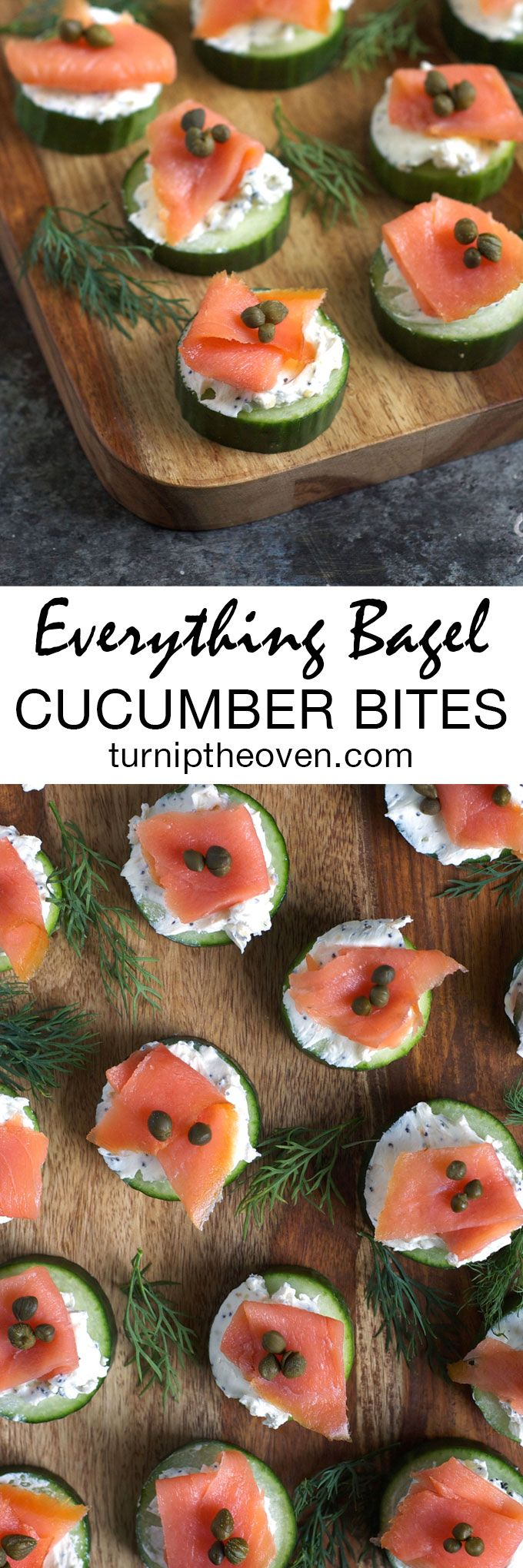 These easy, healthy, and gluten-free cucumber bites are topped with everything bagel-flavored cream cheese and smoked salmon. They just might be the perfect party appetizer!