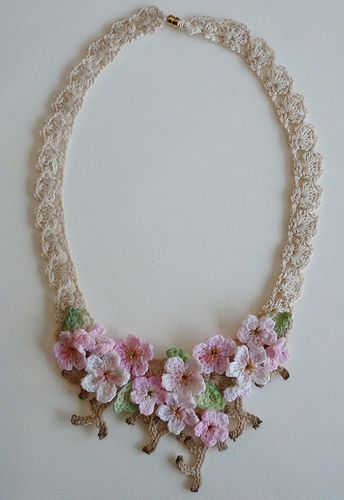 Lace crochet necklace, cherry blossoms