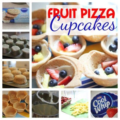 Fruit Pizza Cupcakes: met koekjesdeeg kuipje maken om fruit in te trakteren