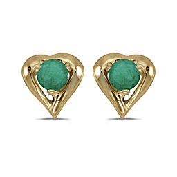These 14k yellow gold round emerald heart earrings feature 3 mm genuine natural emeralds with a 0.20 ct total weight. Sale Price $150.