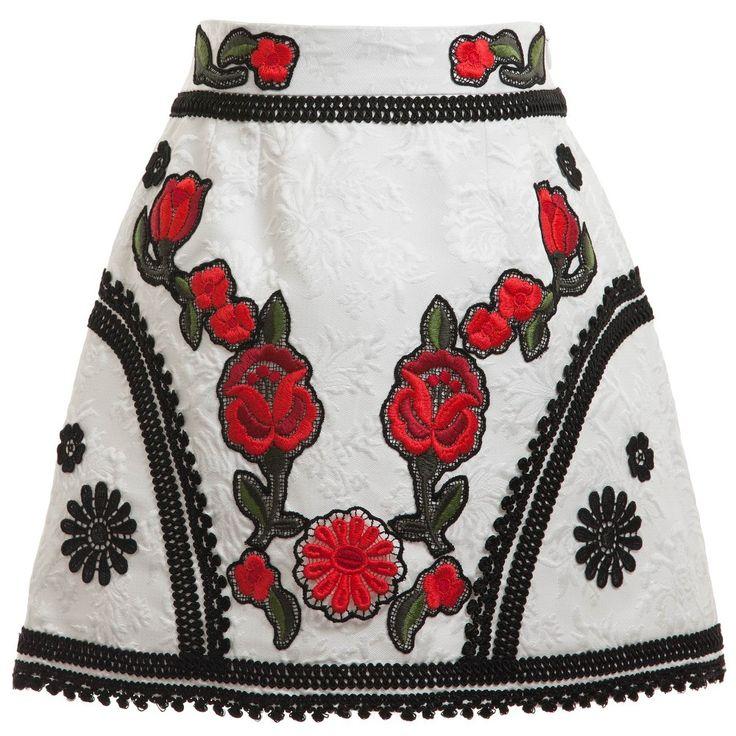 Dolce & Gabbana White Jacquard 'Macrame Lace' Skirt  at Childrensalon.com