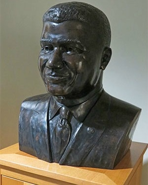 Whitney Young (1921-71), one of the unsung heroes of the civil rights movement, was also a social worker. He was the first African American to serve as president of NASW. He also has a special association with the Columbia U School of Social Work. His papers are housed in our library. This bust of Young appears in an alcove.