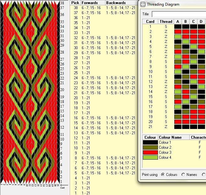 21 tarjetas, 4 colores, repite cada 8 movimientos // ramshorn9 diseñado con GTT༺❁