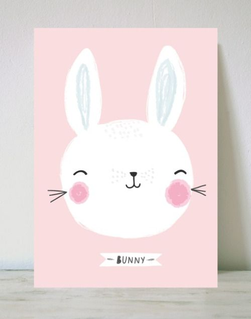 cute, easter, bunny, kids, childrens, design, animal, rabbit, pink, illustration