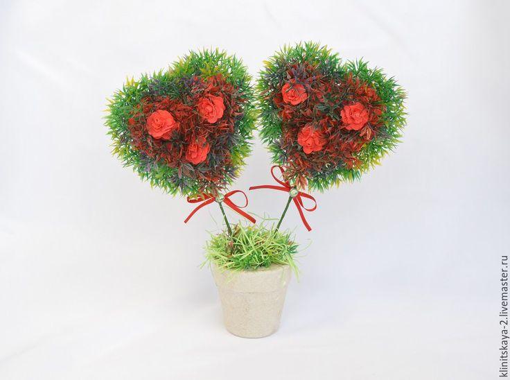 """Купить топиарий """"Цветущие сердца"""" - ярко-красный, топиарий, влюбленные сердца, сердце из цветов"""