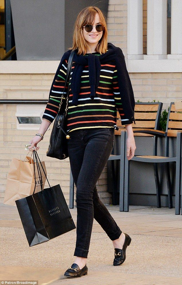 Retail therapy: The Texas-born actress looked every inch the Manhattan hipster in her choice of ensemble, which consisted of skinny jeans, loafers and the obligatory designer sunglasses