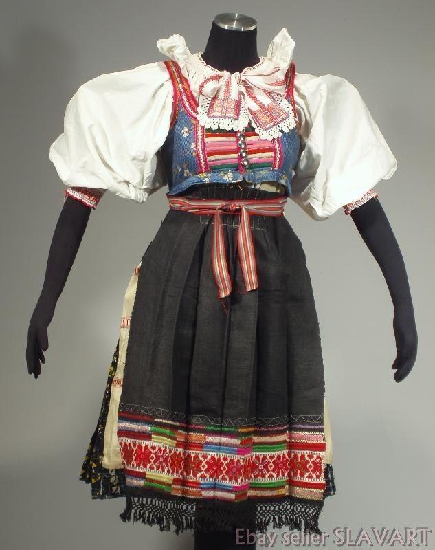 SLOVAK FOLK COSTUME Vazec embroidered apron blouse blueprint skirt dress KROJ
