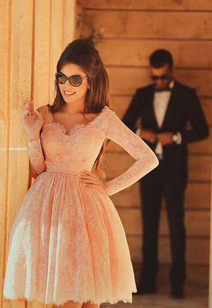 Wholesale 2015 Pink Arabic Short Prom Dresses Lace Long Sleeves Plus Size Sexy Formal Celebrity Pageant Evening Homecoming Party Gowns 2016, Free shipping, $134.54/Piece | DHgate Mobile