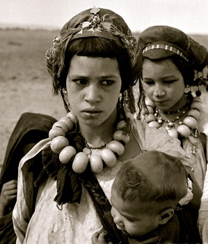 Africa: Amazigh berber girls with facial tattoos, 1940's, Imilchil, Morocco