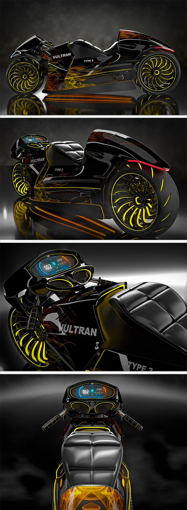 The Vultran Type 3 is an automobile which is a cool cocktail of past and future riding technologies.