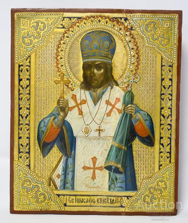 Икона Святитель Иоасаф Епископ Белгородский, живопись по дереву, 19 в., 22х27 см