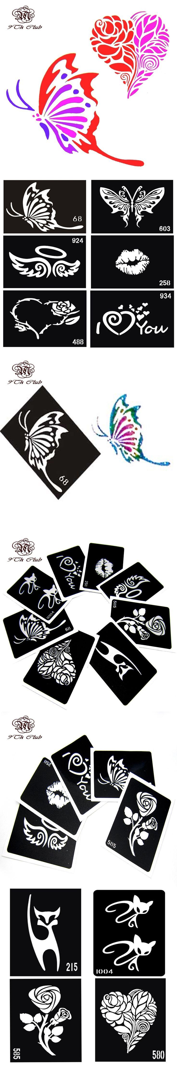 Air brush Glitter Tattoo Stencil Cat Angel Heart Flower Butterfly Cute Drawing Templates, Woman Female Airbrush Tattoo Stencils