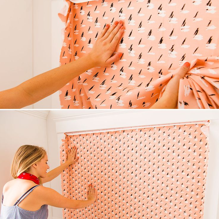 Check out this simple DIY for making your own fabric wallpaper. Perfect for giving your plain apartment a colorful + unique look. #partner