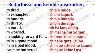 Bedürfnisse und Gefühle ausdrücken auf Deutsch …