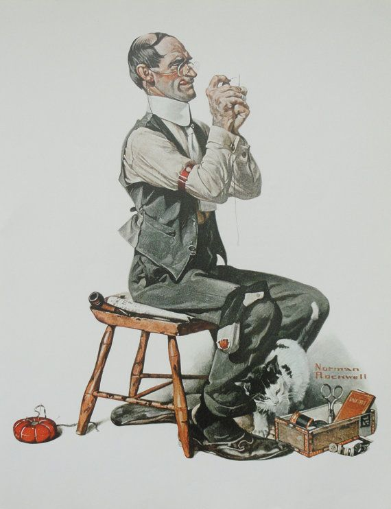 Norman Rockwell Favorite Poster, Vintage Poster Art, Man Threading A Needle, Sew, Antique Art, Printed in 1977 ~ in honor of my 4th great grandfather, Hugh Montgomery, who was a tailor by trade, born in Londonderry, Ireland in 1763 and died in this country in 1827, here in Kentucky.