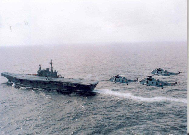 Indian Navy Aircraft Carrier INS Viraat with Seaking helicopters.