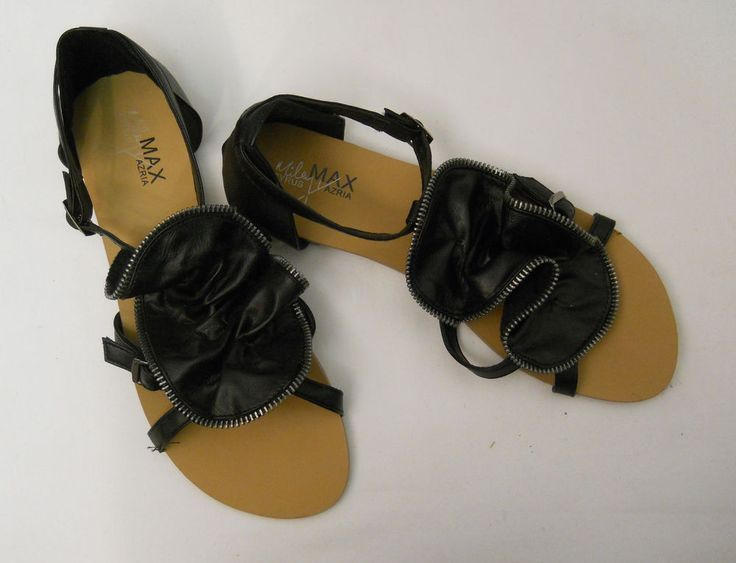 SIZE 10 Womens Flat Sandals MILEY CYRUS Max Azria Studded Ankle Straps Buckle #MileyCyrus #AnkleStrap #Casual