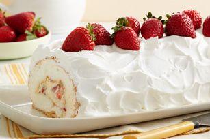 Heavenly Strawberry Roll (angel food cake mix, powdered sugar, strawberries, vanilla pudding, milk, whipped cream)
