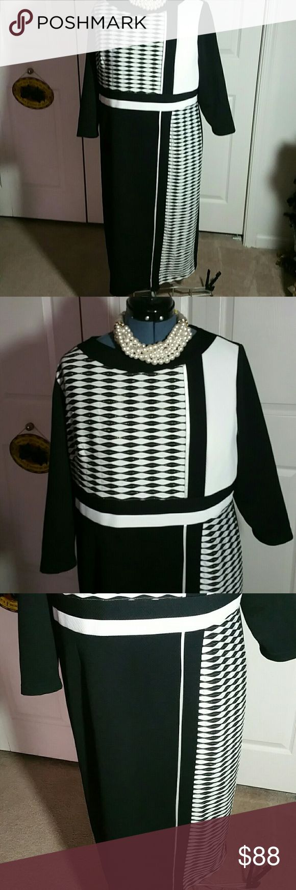*BOG2 - Buy One And Get Two FREE - BOG2* Black and White Dress....... Size 18.......   Zipper 17 inches......Length 46 inches.....Sleeves 18 inches.....Underarm to underarm 23 inches......Waist 22 inches........spot on side front dress........Fully lined..........Bundle three items and offer me the highest price item...the other two are yours FREE! Terramina Dresses Maxi