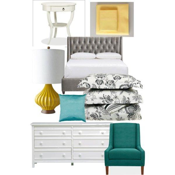 Gray, Teal, & Yellow Bedroom | Bedroom | Gray bedroom, Bedroom red ...