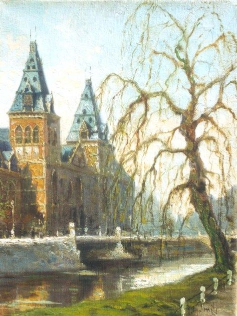 Jan Gerard Smits (Den Haag 1823-1910) A view of the Rijksmuseum, Amsterdam - Dutch Art Gallery Simonis and Buunk Ede, Netherlands.