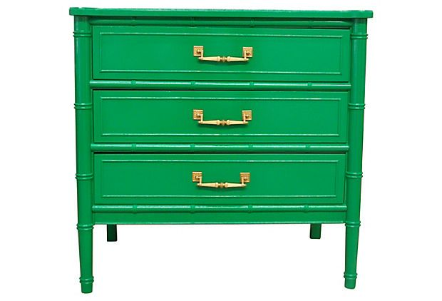 Emerald Faux-Bamboo Single Dresser on OneKingsLane.com- I see the faux bamboo all the time in the Phoenix markets... I like the emerald lacquer upgrade....perhaps I will copy this on a side table...