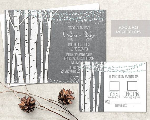 Birch tree wedding invitations for winter wedding celebrations. The wedding invitation is 5x7 and has birch tree silhouettes with flicker lights and romantic stars in the background.