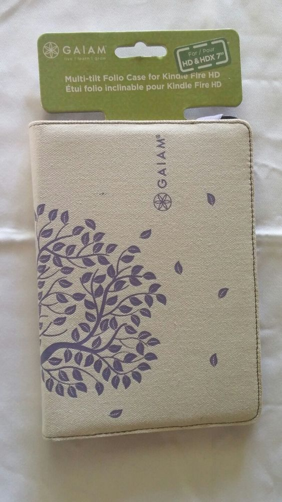 "Gaiam Kindle Fire HD Case Off White Purple 7"" Back to School NOS #Gaiam"