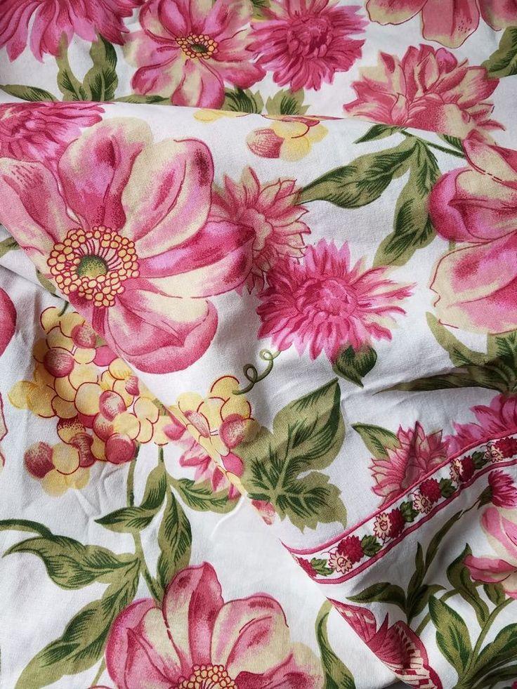 APRIL CORNELL 70 Inch Round Tablecloth  Cream Pink Yellow Green Floral Unused #AprilCornell