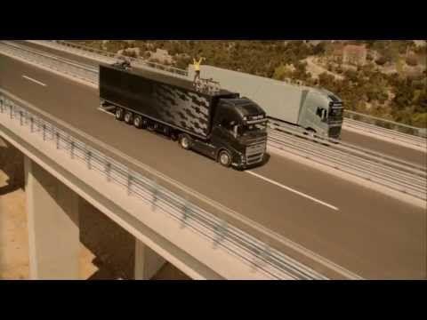 The Ballerina Stunt: Record-holding highliner Faith Dickey battles to cross the line between two speeding trucks.