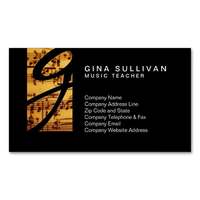 Music Teacher Musical Skills VintageNotes Monogram Double-Sided Standard Business Cards (Pack Of 100). Make your own business card with this great design. All you need is to add your info to this template. Click the image to try it out!