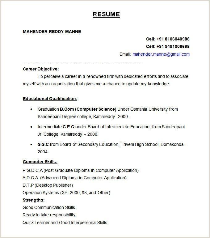 Fresher Resume Teacher Format Resume Format For Freshers Resume