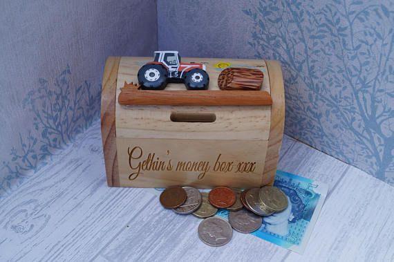 Childrens wooden money box personalised money box tractor