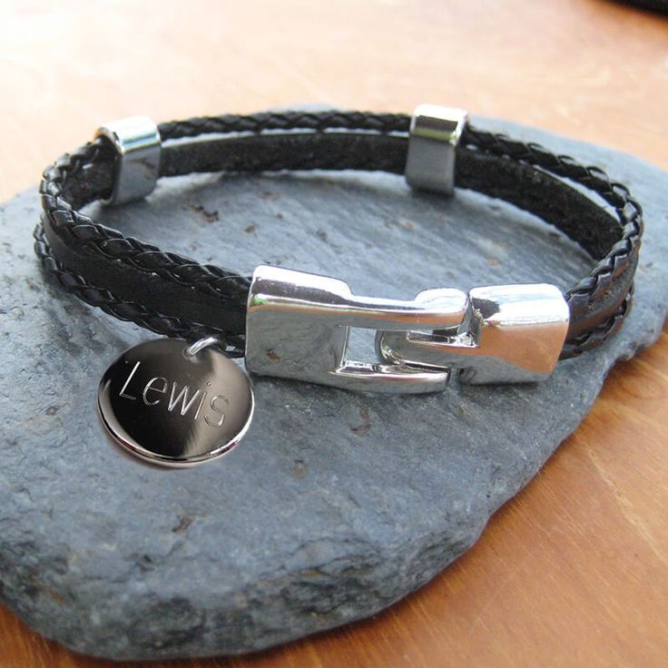 Personalised Mens Leather Clasp Bracelet Our personalised multi-strand leather and cord mens bracelets are engraved with your choice of words or numbers on a round charm, finished off with a simple robust alloy clasp and finishing. A great g http://www.MightGet.com/january-2017-13/personalised-mens-leather-clasp-bracelet.asp