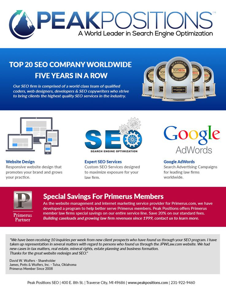 SEO Firm Peak Positions is comprised of a world class team of qualified coders, web designers, developers & SEO copywriters who strive to bring clients the highest quality SEO services in the industry  - Endorsed by Google Since 1999 - Contact Peak Positions.