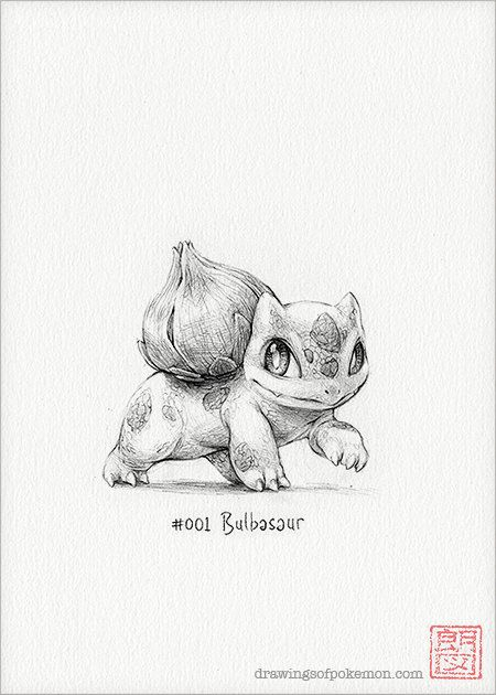 Bulbasaur  5 x 7 print pokemon drawing art by DrawingsofHeroes, $9.00