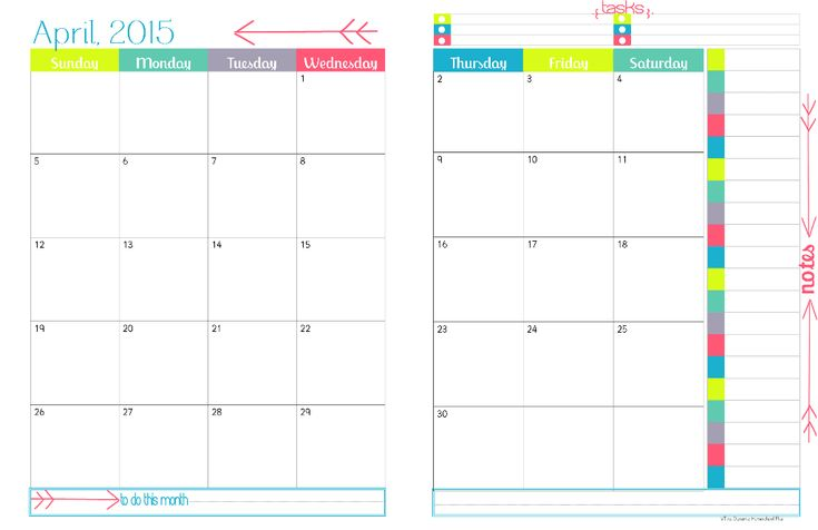 2015 Physical Year Calendar –2 Pages Per Month At A Glance