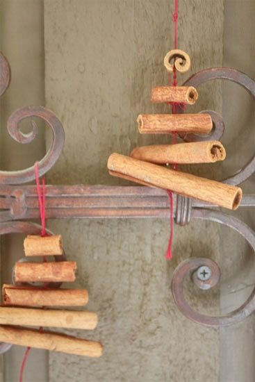 use cinnamon quills to make lovely smelling decorations