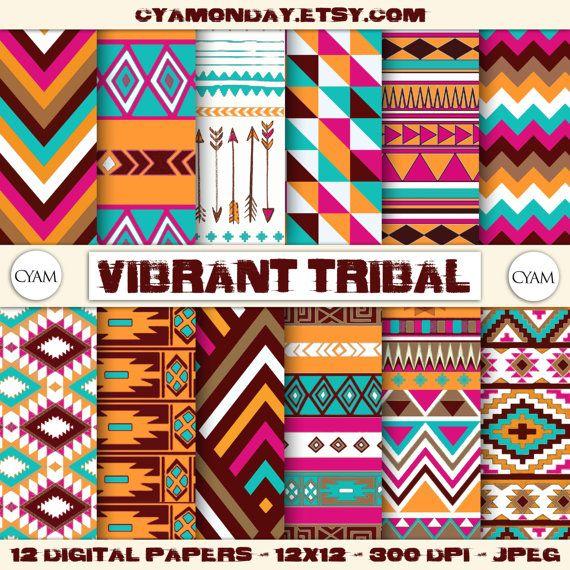 SALE! Vibrant Tribal Scrapbook Digital Paper: Instant Download. Ethnic, Tribal, Aztec, Navajo, Chevron, Arrows pattern. Buy 2 get 1 FREE
