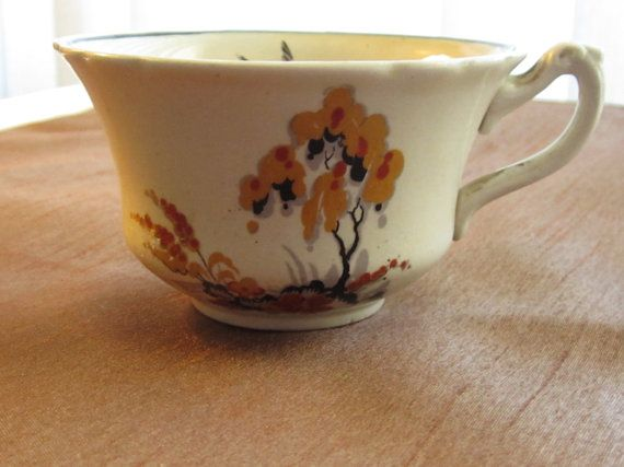 WEDGWOOD  & Co, Creamer and cup, antique, dated approx 1908, orange, yellow, black, grey, birds in flight, Asian inspired, bridge, trees