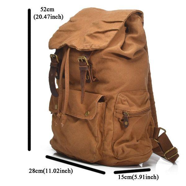 Men Women Vintage Canvas Backpack Rucksack Mountaineering Backpack