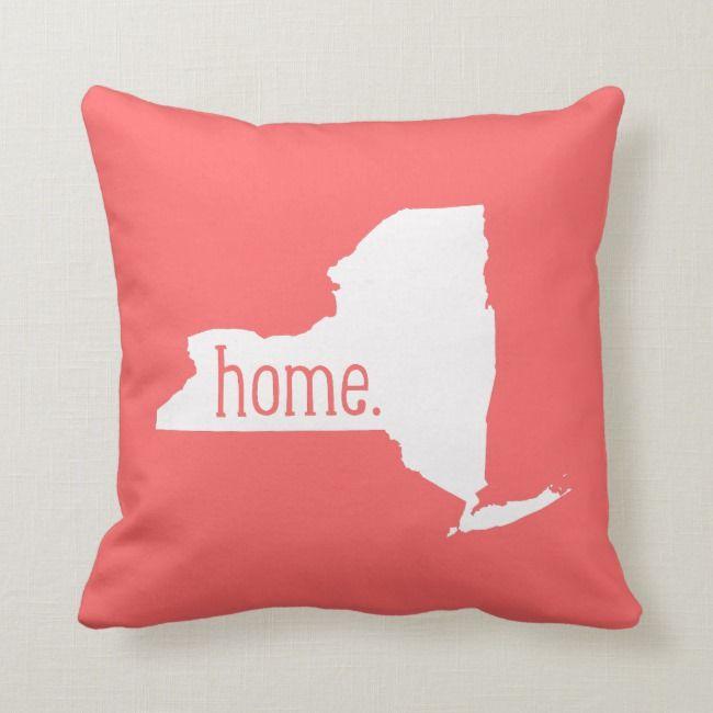 New York Home State Throw Pillow Zazzle Com State Throw Pillows Throw Pillows Pillows