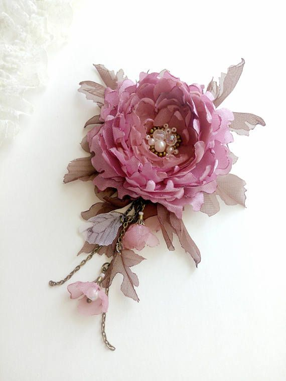 504d42c9c Fabric flower brooch pink peony fabric puce flower brooch | Buy ...