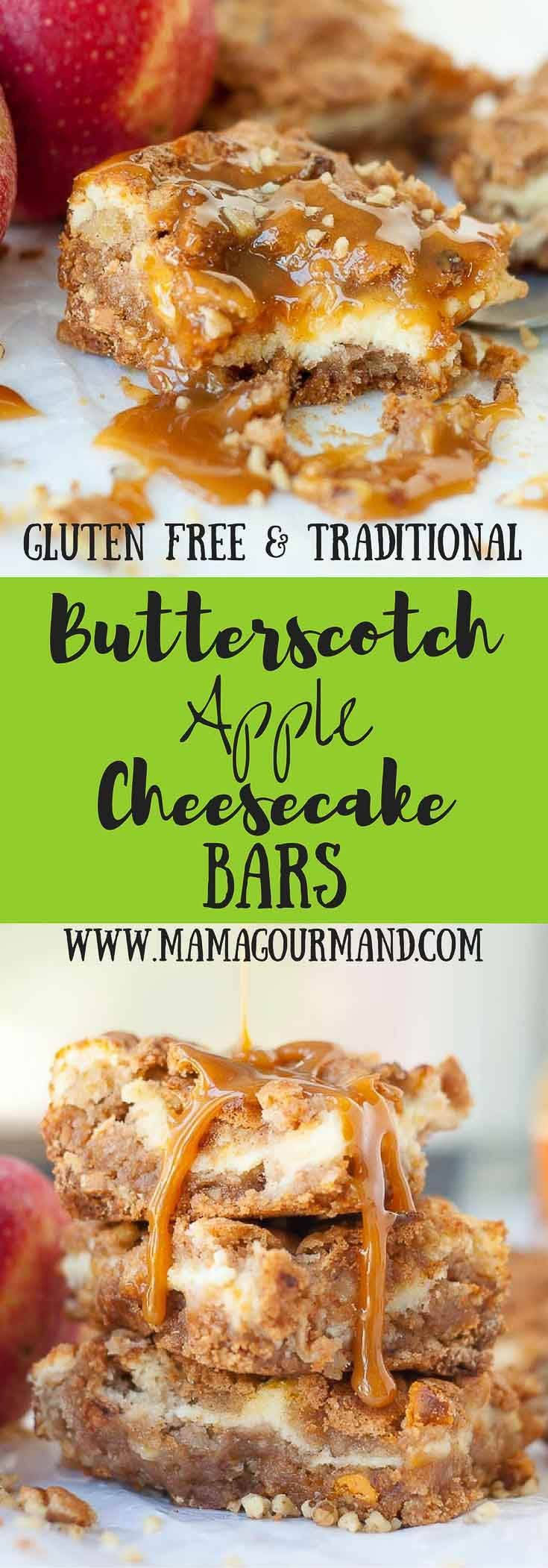 Butterscotch Apple Cheesecake Bars has simple, no fuss ingredients, and easy prep, but makes one legendary apple bar recipe! https://www.mamagourmand.com